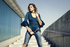 Free Woman Wearing Blue Scoop-neck Quartered Sleeve Shirt Posing Stock Photos - 109925773
