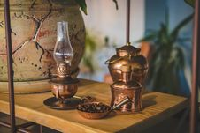 Free Brass-colored Oil Lamp Stock Image - 109925821