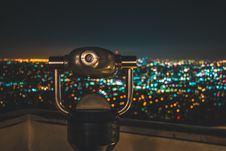 Free Black Binocular Facing Lighted City At Nighttime Stock Photo - 109925900