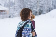 Free Selective Focus Portrait Photograph Of Woman Wearing Blue, Green, And White Tribal Jacket And Black Backpack Outfit Royalty Free Stock Photography - 109925907