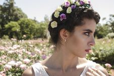 Free Close Up Photo Of Woman With Floral Headband Stock Image - 109925961