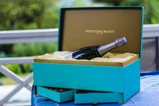 Free Fortnum And Mason Bottle On Blue Box Royalty Free Stock Photography - 109926277