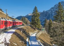 Free Moving Train With Mountain And Trees In Background Stock Image - 109926301
