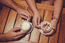 Free Two People Holding White Cup With Coffee Royalty Free Stock Images - 109926389