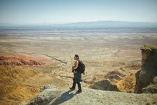 Free Man Standing On Peak Stock Images - 109927034