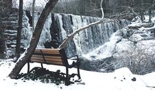 Free Snow Covered With Brown And Black Steel Couch Stock Photography - 109927042