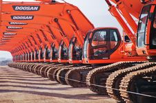 Free Red Doosan Ride-on Tractors Royalty Free Stock Image - 109927426