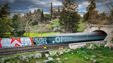 Free Time Lapse Photography Of Train Passing Through Bridge Stock Image - 109927451