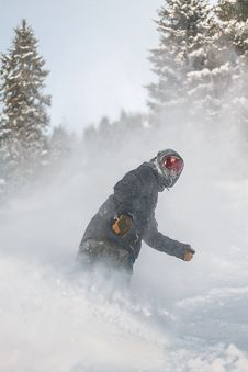Free Person In Grey Jacket And Red Snow Goggles Riding On Snowboard Royalty Free Stock Photography - 109927487