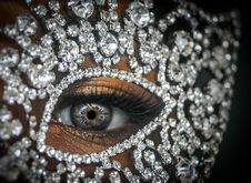 Free Person S Right Eye With Clear Gemstone Studded Decor Stock Photo - 109927500