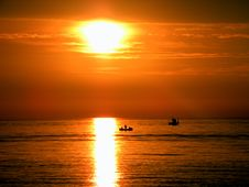 Free Silhouette Of People On Boat During Golden Hours Stock Image - 109927581