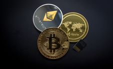 Free Ripple, Etehereum And Bitcoin And Micro Sdhc Card Stock Photography - 109927592