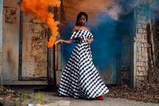 Free Women S Black And White Checked Dress Stock Photo - 109928090