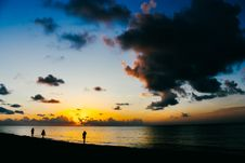 Free People Standing On Seashore During Sunset Royalty Free Stock Image - 109928226