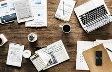 Free Business Newspaper Page Near Black Click Pen And Coffee Royalty Free Stock Image - 109928466