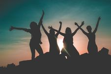Free Silhouette Of Four People Against Sun Background Royalty Free Stock Image - 109928776