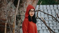 Free Woman In Red Pullover Hooded Jacket Stock Photography - 109928902