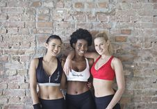 Free Three Women Wearing Sports Bras And Leggings Stock Photos - 109928933