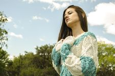 Free Woman In White And Teal Crochet Dress Under Cloudy Sky Royalty Free Stock Image - 109929556