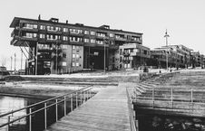 Free Gray Scale Photo Of A Dock Near A Building Stock Photos - 109929773