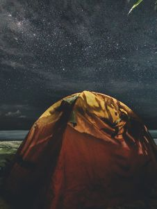 Free Orange And Green Camping Tent Under Starry Sky Stock Photography - 109973252