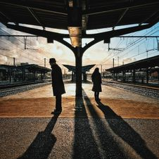 Free Man And Woman Silhouette Standing On Brown Ground At Daytime Stock Photography - 109973302