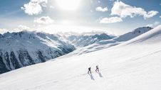 Free Two Man Hiking On Snow Mountain Stock Image - 109973311
