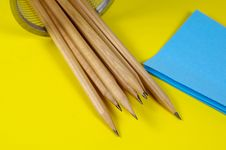 Free Pencils And Postits Royalty Free Stock Photography - 114427