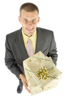 Free Man With Gifts Stock Images - 1101414