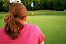 Free Woman On Golf Course Royalty Free Stock Image - 1105516