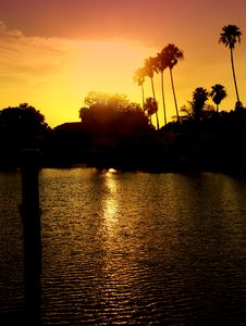 Free Intercostal Waterway At Sunset Stock Photos - 1105653