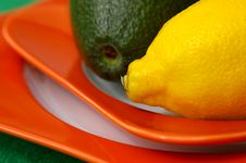 Lemon And Avocado Stock Photo