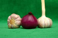 Garlic An Red Onion Zoomed Royalty Free Stock Photo