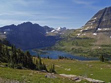 Hidden Lake Looking Toward Sperry Glacier Stock Photography