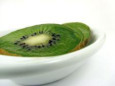 Free Kiwi On White Plate Stock Photography - 1109882