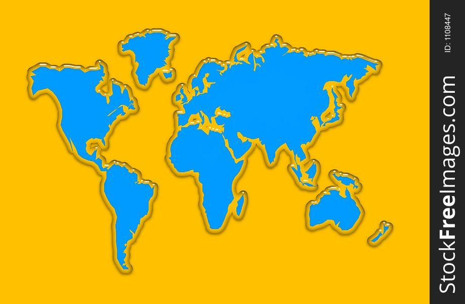 World map aqua