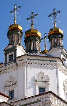 Golden Cupolas Of A Russian Orthodox Church Stock Image