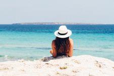 Free Woman Lying On White Sand Beach Stock Photo - 110046960