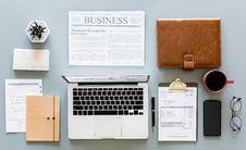 Free Macbook Air, Newspaper Article And Mug Royalty Free Stock Photos - 110047048