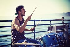 Free Man Playing Drums Royalty Free Stock Image - 110047096