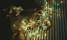 Free Woman Near Assorted-color String Lights Royalty Free Stock Photography - 110174347