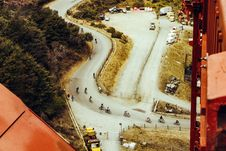 Free Aerial Of Bikers Royalty Free Stock Photography - 110248467
