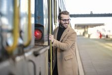 Free Man About To Enter The Train Royalty Free Stock Photos - 110248588