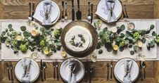 Free Photo Of White Dinnerware Plate Set On Table Stock Image - 110341931