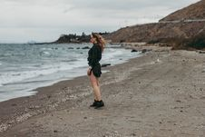 Free Woman Standing On Seashore Royalty Free Stock Images - 110501069