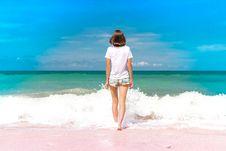 Free Woman Standing On Seashore Stock Photos - 110529443