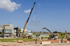 Free Construction, Construction Equipment, Crane, Residential Area Stock Image - 110549361