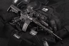 Free Grayscale Photo Of Black M4a1 On Magazines Royalty Free Stock Photo - 110654895