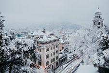 Free Bird S Eye View Of Snowy Town Royalty Free Stock Photos - 110655018