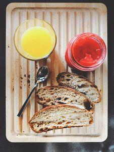 Free Orange Juice, Jam And Bread Stock Photography - 110655152